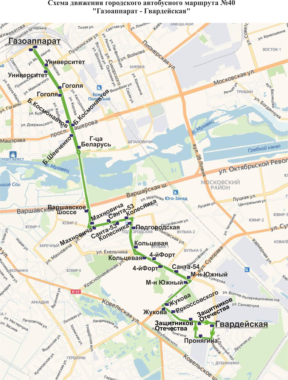 Схема движения 23 автобуса на карте